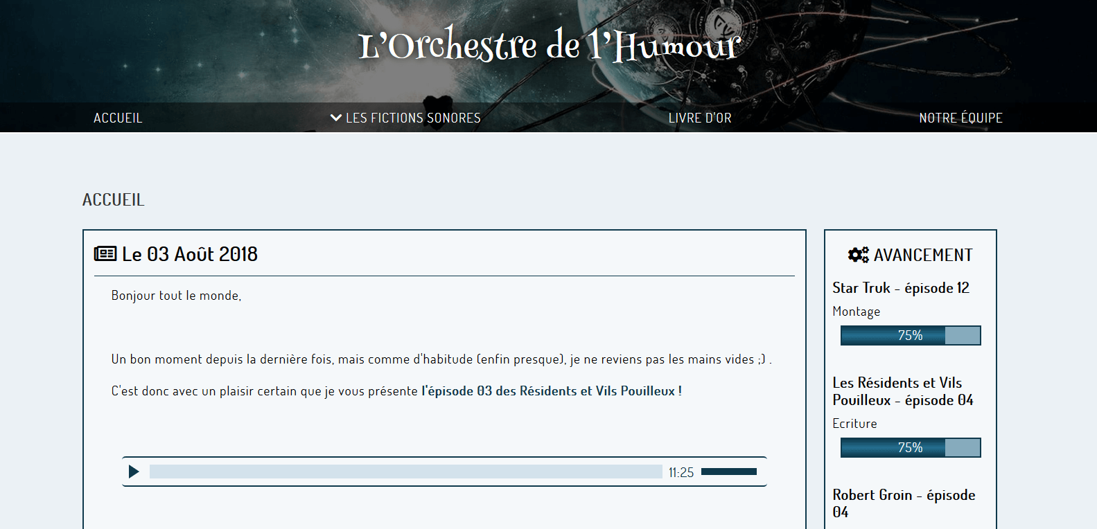 Screen du site